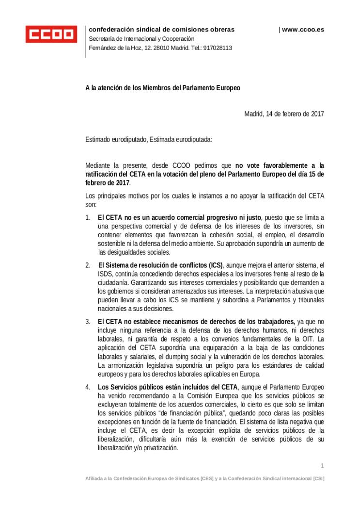 Carta de CCOO a eurodiputadxs