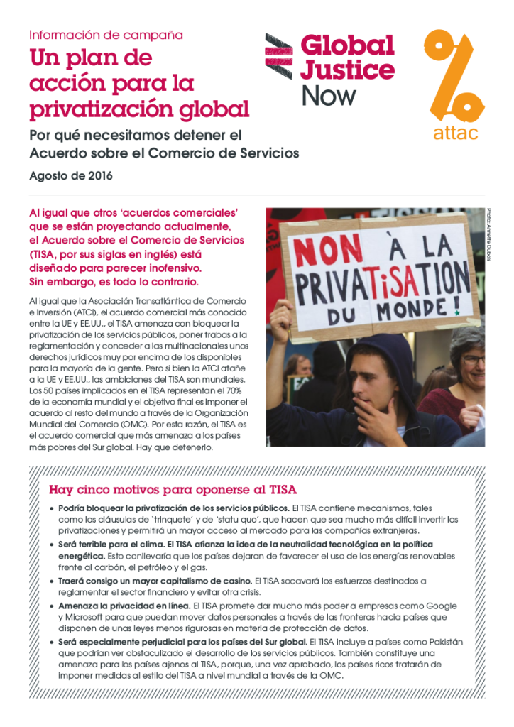 Un plan de acción para la privatización global.