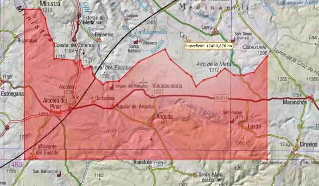 Área cubierta por el real decreto aprobado para fracking dentro de la provincia de Guadalajara.